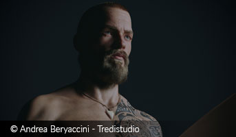 andrea beryaccini tredistudio	tattoed bearded surfer